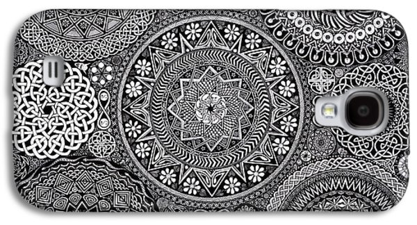 Black And White Galaxy S4 Cases - Mandala Bouquet Galaxy S4 Case by Matthew Ridgway