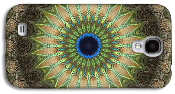 Blue Abstracts Galaxy S4 Cases - Mandala No 12 Galaxy S4 Case by Lene Pieters