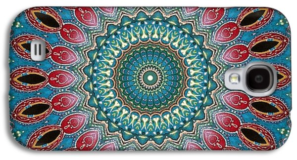 Blue Abstracts Galaxy S4 Cases - Mandala No 9 Galaxy S4 Case by Lene Pieters