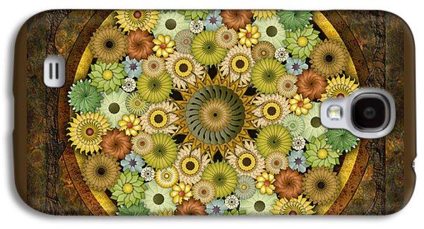 Abstract Digital Mixed Media Galaxy S4 Cases - Mandala Stone Flowers Galaxy S4 Case by Bedros Awak