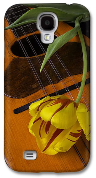Hand Made Galaxy S4 Cases - Mandolin With Red And Yellow Tulip Galaxy S4 Case by Garry Gay
