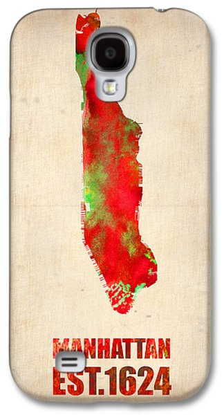 Times Square Digital Galaxy S4 Cases - Manhattan Watercolor Map Galaxy S4 Case by Naxart Studio