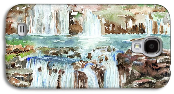 Waterfalls Paintings Galaxy S4 Cases - Many Waterfalls Galaxy S4 Case by Arline Wagner