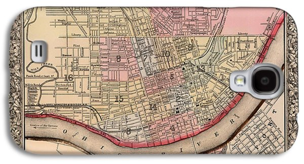 Historic Site Drawings Galaxy S4 Cases - Map Of Cincinnati Ohio 1864 Galaxy S4 Case by Samuel Mitchell