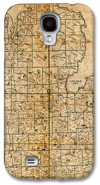 Hand Drawn Galaxy S4 Cases - Map of Michigan Vintage Railroad Train Routes Hand Drawn on Worn Distressed Old Canvas Galaxy S4 Case by Design Turnpike