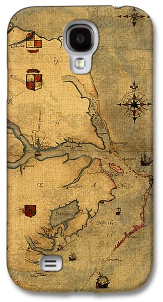 Ocean Art. Beach Decor Galaxy S4 Cases - Map of Outer Banks Vintage Coastal Handrawn Schematic on Parchment Circa 1585 Galaxy S4 Case by Design Turnpike
