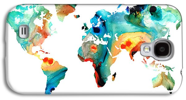 America The Continent Mixed Media Galaxy S4 Cases - Map of The World 11 -Colorful Abstract Art Galaxy S4 Case by Sharon Cummings
