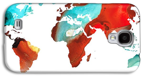 Labor Galaxy S4 Cases - Map of The World 4 -Colorful Abstract Art Galaxy S4 Case by Sharon Cummings