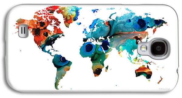 Abstract Landscape Galaxy S4 Cases - Map of The World 6 -Colorful Abstract Art Galaxy S4 Case by Sharon Cummings