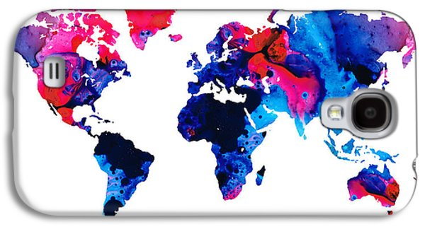 America The Continent Mixed Media Galaxy S4 Cases - Map of The World 9 -Colorful Abstract Art Galaxy S4 Case by Sharon Cummings