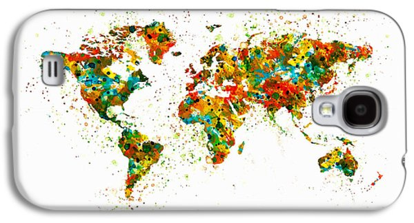 World Map Poster Digital Galaxy S4 Cases - Map of the World watercolor Galaxy S4 Case by Marian Voicu