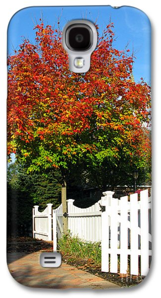 Garden Scene Galaxy S4 Cases - Maple and Picket Fence Galaxy S4 Case by Olivier Le Queinec