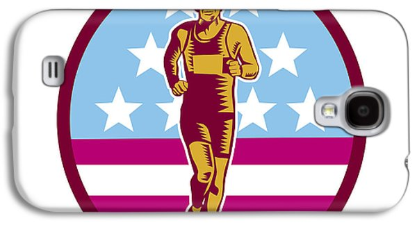 Marathon Runner Usa Flag Circle Woodcut Galaxy S4 Case by Aloysius Patrimonio