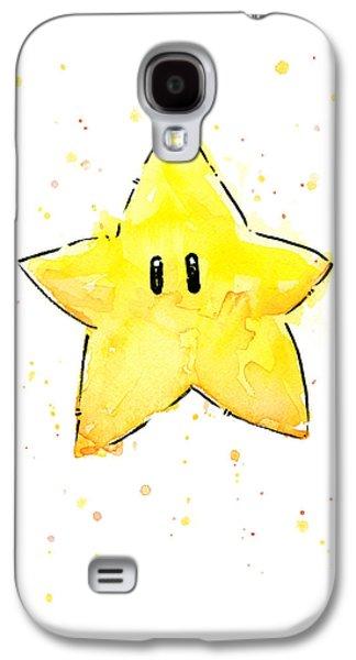 Drawing Mixed Media Galaxy S4 Cases - Mario Invincibility Star Watercolor Galaxy S4 Case by Olga Shvartsur