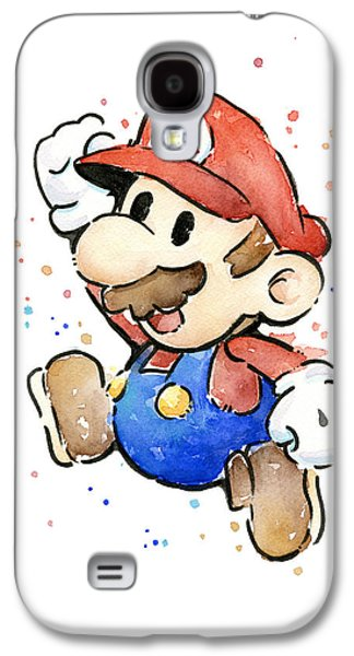 Character Portraits Galaxy S4 Cases - Mario Watercolor Fan Art Galaxy S4 Case by Olga Shvartsur