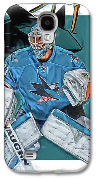 Martin Jones San Jose Sharks Oil Art Galaxy S4 Case by Joe Hamilton