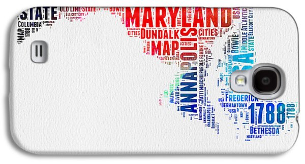 4th July Mixed Media Galaxy S4 Cases - Maryland Watercolor Word Cloud  Galaxy S4 Case by Naxart Studio