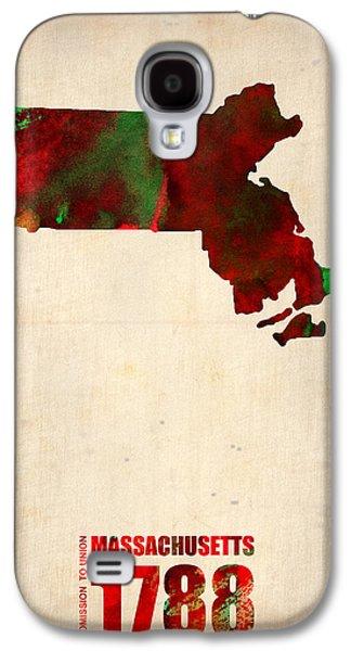 Massachusetts Galaxy S4 Cases - Massachusetts Watercolor Map Galaxy S4 Case by Naxart Studio