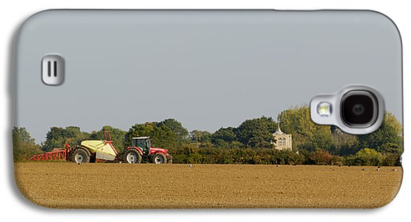 Machinery Galaxy S4 Cases - Massey Ferguson crop spraying Galaxy S4 Case by Katey jane Andrews