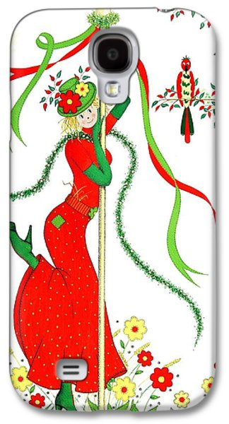 Pole Drawings Galaxy S4 Cases - Maypole Scarecrow Galaxy S4 Case by Sandra Moore