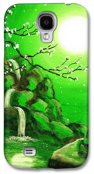 Cherry Blossoms Galaxy S4 Cases - Meditating while Cherry Blossoms Fall in Green Galaxy S4 Case by Laura Iverson