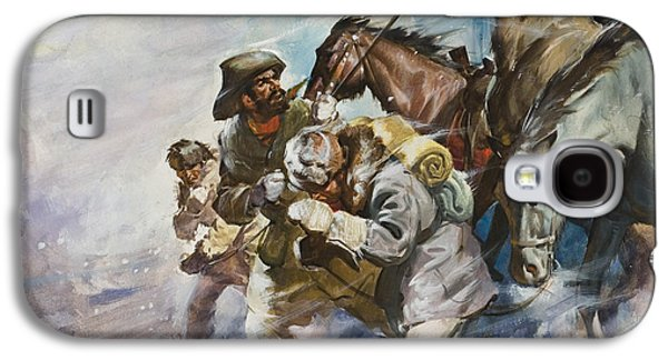 Men And Horses Battling A Storm Galaxy S4 Case by James Edwin McConnell