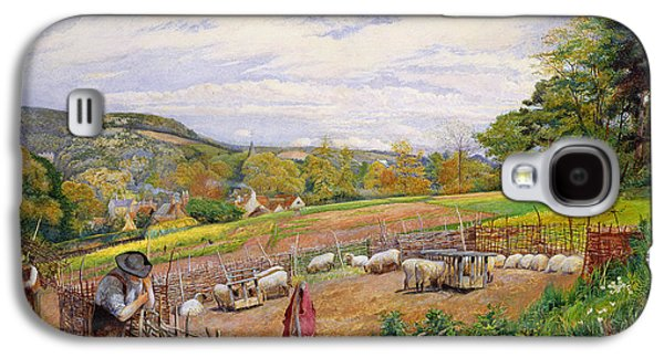 Mending The Sheep Pen Galaxy S4 Case by William Henry Millais