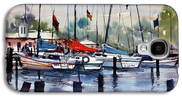 Docked Sailboats Galaxy S4 Cases - Menominee Marina Galaxy S4 Case by Ryan Radke