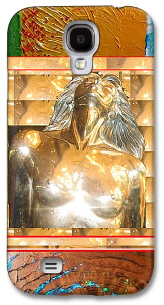 Business Galaxy S4 Cases - Mermaid Bust in Centre Acrylic Texture Art on top and Rare Earth Stone fossilized piece Golden Brown Galaxy S4 Case by Navin Joshi
