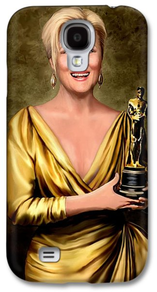 Gold Lame Galaxy S4 Cases - Meryl Streep Winner Galaxy S4 Case by Jann Paxton
