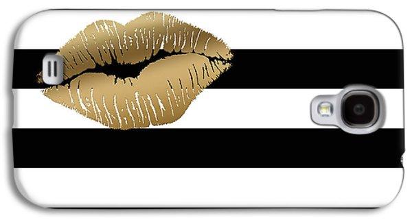 Metallic Gold Lips Black And White Stripes Galaxy S4 Case by Georgeta Blanaru