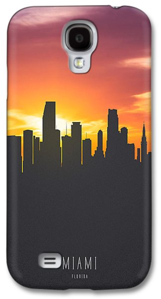 Miami Florida Sunset Skyline 01 Galaxy S4 Case by Aged Pixel