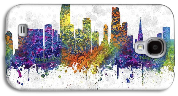 Skylines Drawings Galaxy S4 Cases - Miami Florida Skyline Color 03SQ Galaxy S4 Case by Aged Pixel