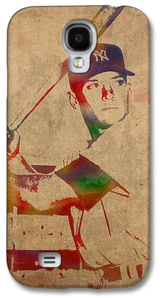 Mickey Mantle New York Yankees Baseball Player Watercolor Portrait On Distressed Worn Canvas Galaxy S4 Case by Design Turnpike