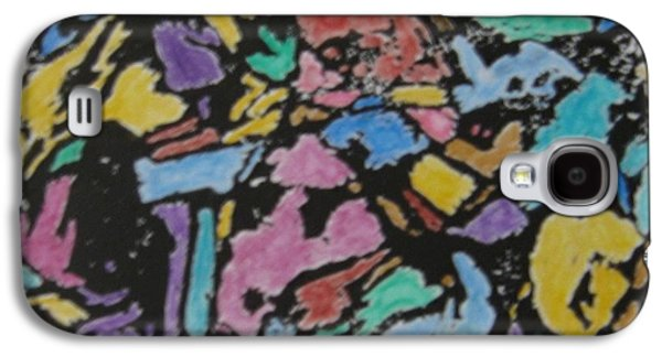 Lino Mixed Media Galaxy S4 Cases - Microscopic Meteorite Galaxy S4 Case by Laura Laughren