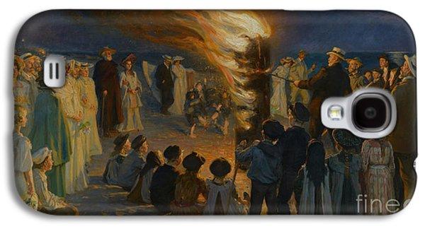 Midsummer Galaxy S4 Cases - Midsummer Eve Bonfire on Skagen Beach Galaxy S4 Case by Celestial Images