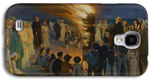 Midsummer Galaxy S4 Cases - Midsummer Eve Bonfire on Skagen Beach  Galaxy S4 Case by Movie Poster Prints