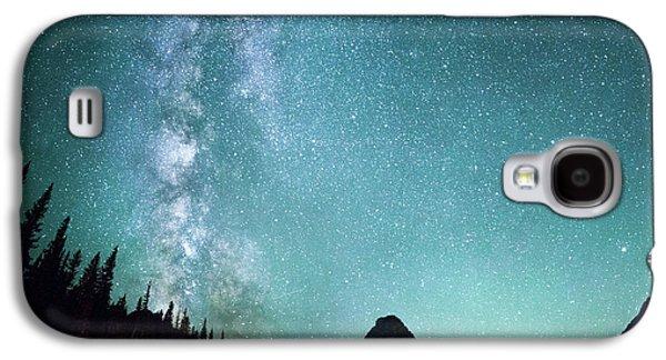 Milky Way // Two Medicine Lake, Glacier National Park Galaxy S4 Case by Nicholas Parker