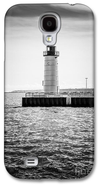 Lake House Galaxy S4 Cases - Milwaukee Pierhead Lighthouse Photo in Black and White Galaxy S4 Case by Paul Velgos