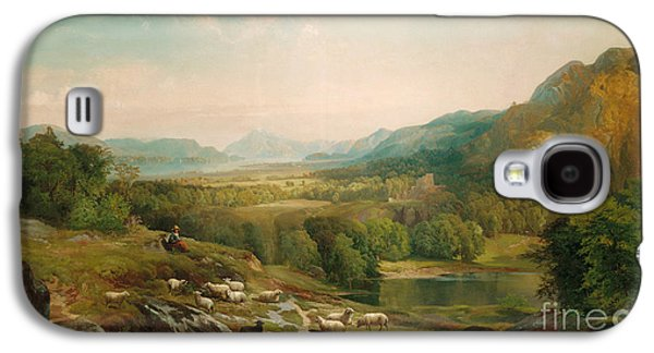 Mountainous Paintings Galaxy S4 Cases - Minding the Flock Galaxy S4 Case by Thomas Moran