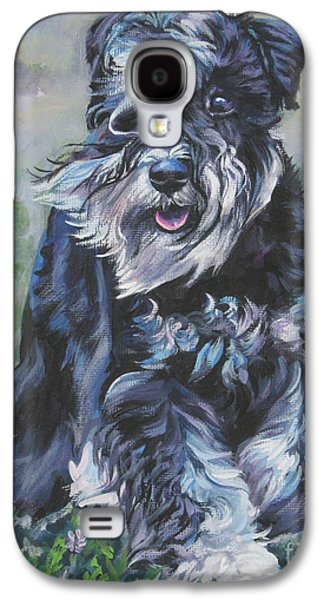 Puppies Galaxy S4 Cases - Miniature Schnauzer Galaxy S4 Case by Lee Ann Shepard