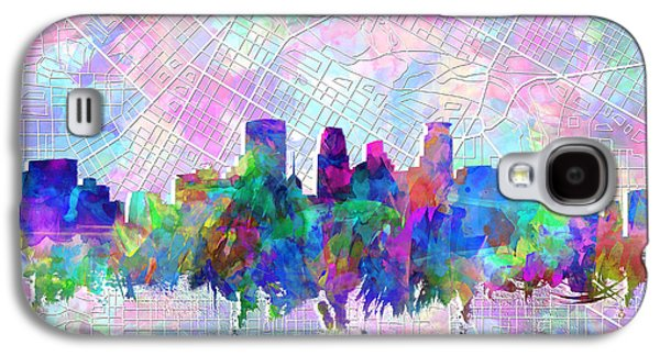 Abstract Digital Art Galaxy S4 Cases - Minneapolis Skyline Watercolor Galaxy S4 Case by MB Art factory