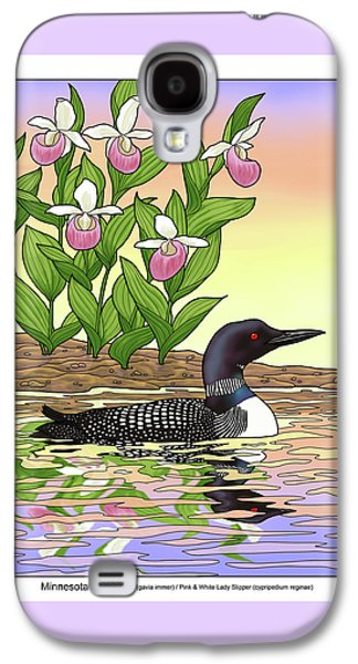 Minnesota State Bird Loon And Flower Ladyslipper Galaxy S4 Case by Crista Forest