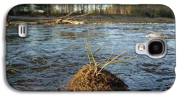 Waterscape Pyrography Galaxy S4 Cases - Mississippi river Grass on a Rock Galaxy S4 Case by Kent Lorentzen
