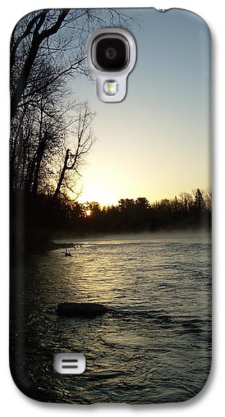 Waterscape Pyrography Galaxy S4 Cases - Mississippi river Sunrise shadow Galaxy S4 Case by Kent Lorentzen