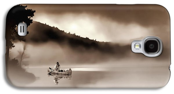 Canoe Mixed Media Galaxy S4 Cases - Misty Morning Galaxy S4 Case by Stephen Anthony