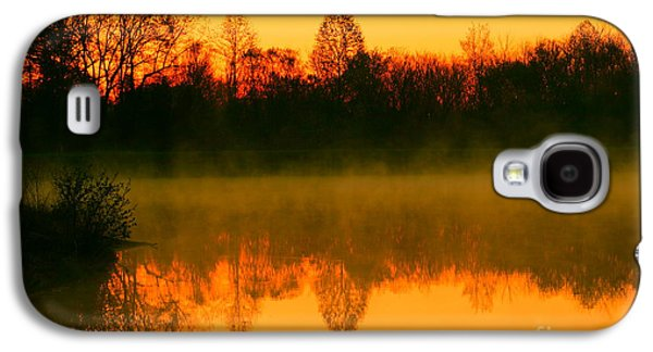 Trees Reflecting In Water Galaxy S4 Cases - Misty Sunrise Galaxy S4 Case by Morgan Hill