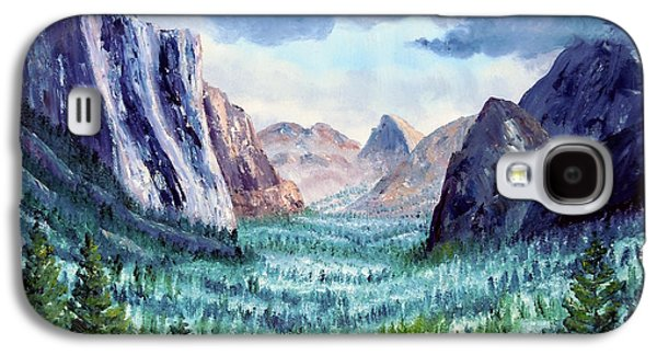 Half Dome Paintings Galaxy S4 Cases - Misty Yosemite Valley Galaxy S4 Case by Laura Iverson