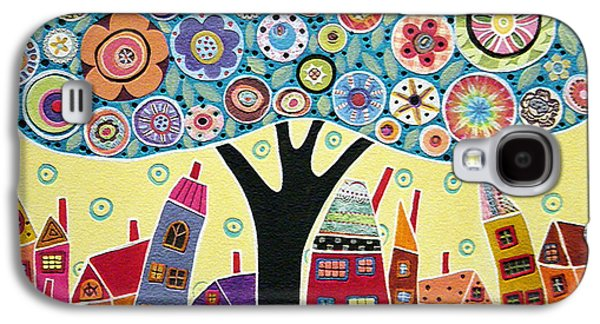 Landscapes Mixed Media Galaxy S4 Cases - Mixed Media Collage Tree and Houses Galaxy S4 Case by Karla Gerard
