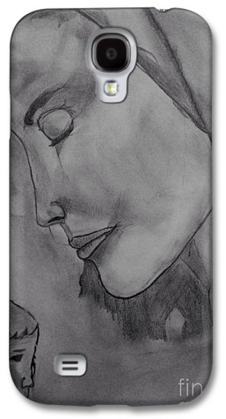 Religious Drawings Galaxy S4 Cases - Mother Mary and Baby Jesus Galaxy S4 Case by Navroz  Raje